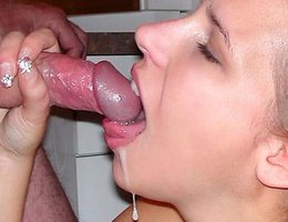 A cum loving amateur bitch in this blowjob gallery Image 1