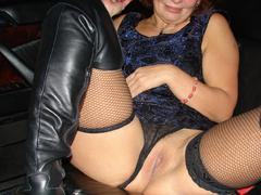 I love watching my horny girlfriend showing her pretty boobies and juicy pussy wearing her smooth sexy nylon stockings. Image 8