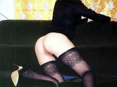 I like when my horny girlfriend is showing her wet pussy and pretty boobies or playing with her sex toys with her sexy nylon stockings on. Image 2