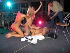 Those sextractive girls get so horny during their amazing strip show and cannot prevent it from turning into real hot sex action! Image 5