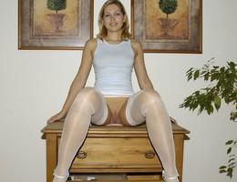 Amateur girl posing in lingerie series Image 7