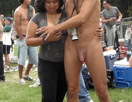 Women watching guys with their balls out - cfnm style gal Image 7